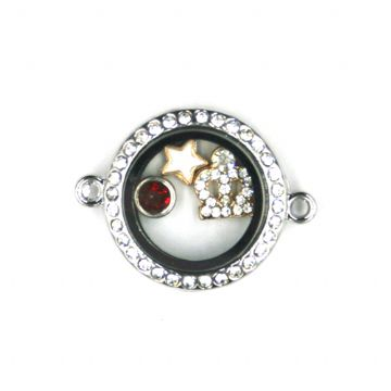 24mm living memory floating bracelet charm locket with rhinestone - rhodium plated